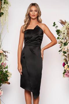 Black occasional midi pencil dress from satin