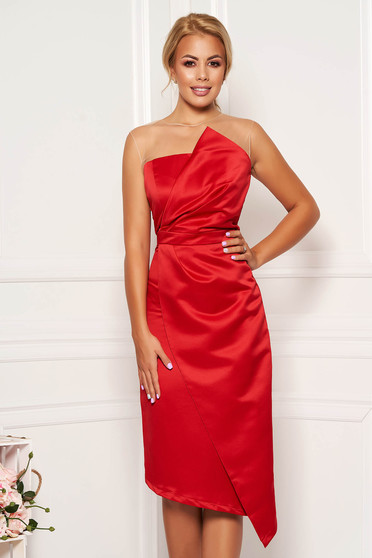 Red occasional midi pencil dress from satin