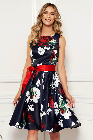 Darkblue occasional cloche dress from satin with floral print accessorized with tied waistband