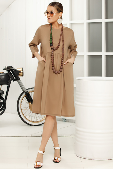 Brown casual daily flared dress with 3/4 sleeves