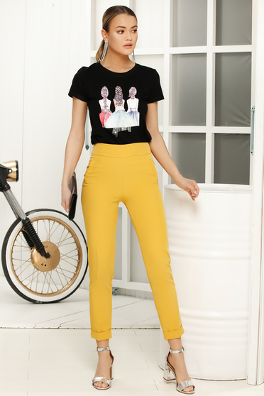 Black casual flared t-shirt short sleeves thin fabric