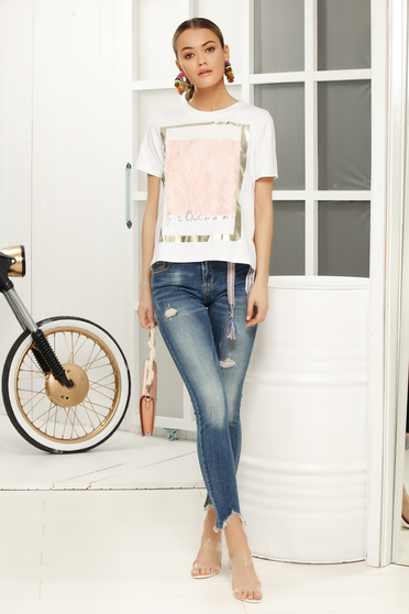 Lightpink casual flared t-shirt short sleeves airy fabric