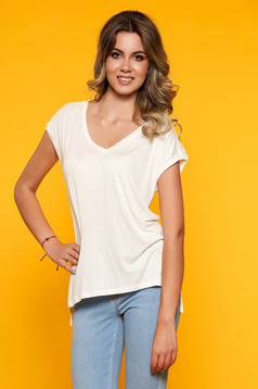 White women`s blouse with v-neckline with embroidery details casual