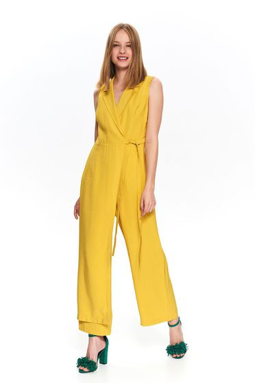 Yellow jumpsuit occasional flared long sleeveless