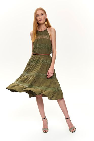 Khaki dress daily cloche midi halter neck with embroidery details