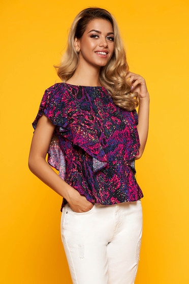 Purple women`s blouse casual with deep cleavage with ruffle details with v-neckline