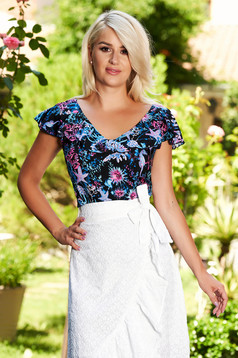 Darkblue women`s blouse casual with floral print with ruffles on the chest with cut back
