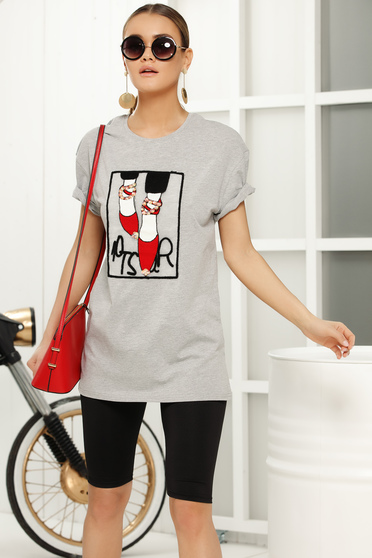Grey casual flared t-shirt short sleeves thin fabric