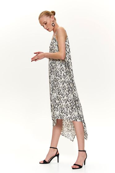 Cream dress asymmetrical midi snake print daily with rounded cleavage
