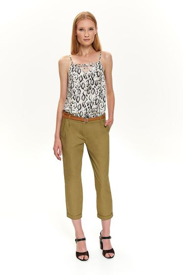 Khaki trousers office 3/4 with an accessory with front pockets