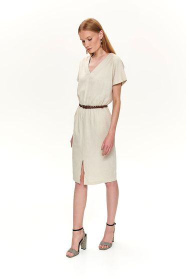 Cream dress daily midi with v-neckline accessorized with belt