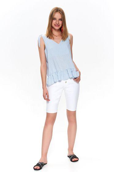 Lightblue women`s blouse with v-neckline peplum with stripes