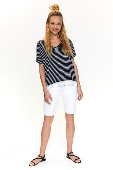 White t-shirt casual flared with v-neckline with stripes