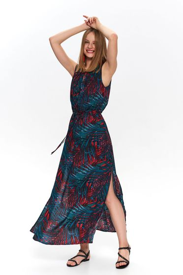 Green dress casual with floral print accessorized with tied waistband cut material sleeveless