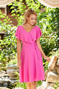 StarShinerS fuchsia dress daily short cut cloche scuba with v-neckline without clothing frilly trim around cleavage line