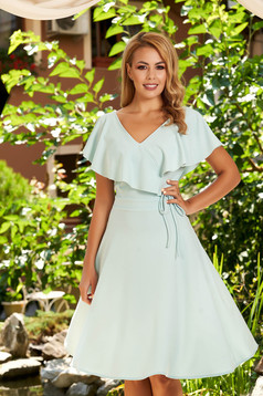 StarShinerS mint dress daily short cut cloche scuba with v-neckline without clothing frilly trim around cleavage line
