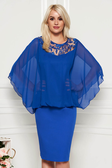 Blue occasional midi dress non-flexible thin fabric voile overlay with lace details