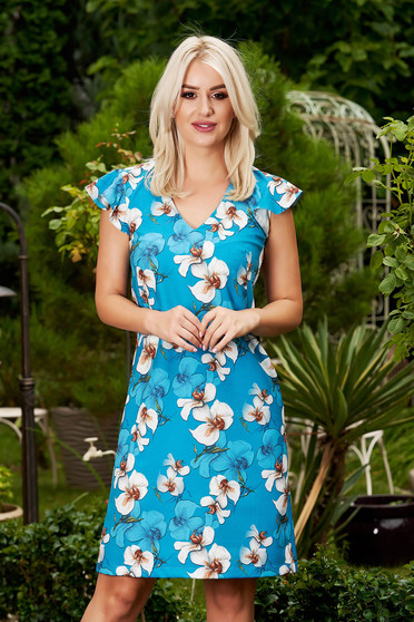 StarShinerS blue dress elegant short cut cloth with v-neckline frilly straps