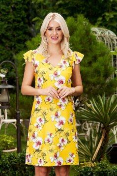 StarShinerS yellow dress elegant short cut cloth with v-neckline frilly straps