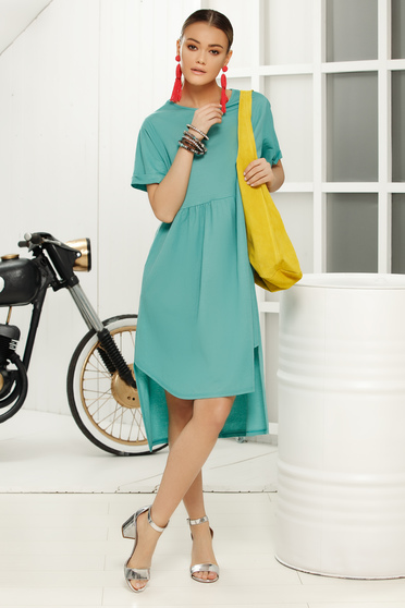 Turquoise dress casual flared short sleeves
