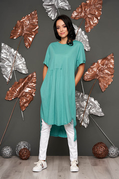 Turquoise dress casual flared short sleeves daily neckline