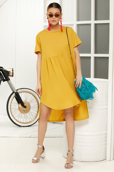 Mustard dress casual flared short sleeves