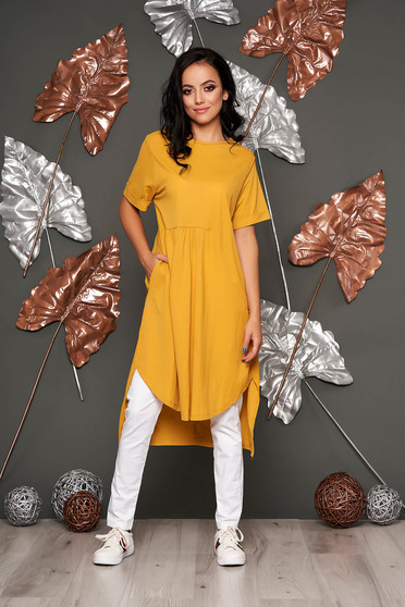 Mustard dress casual flared short sleeves daily neckline