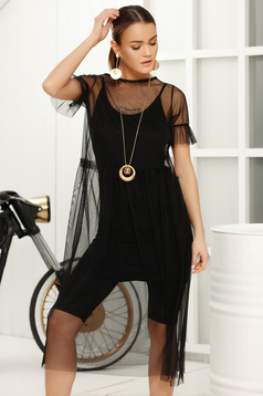 Black dress casual straight midi short sleeves