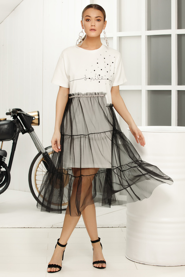Casual flared white dress short sleeves voile overlay