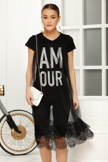 Black casual with easy cut t-shirt short sleeves fabric overlay