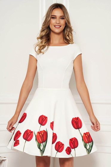 StarShinerS ivory dress elegant occasional short cut cloche with cut back with floral print