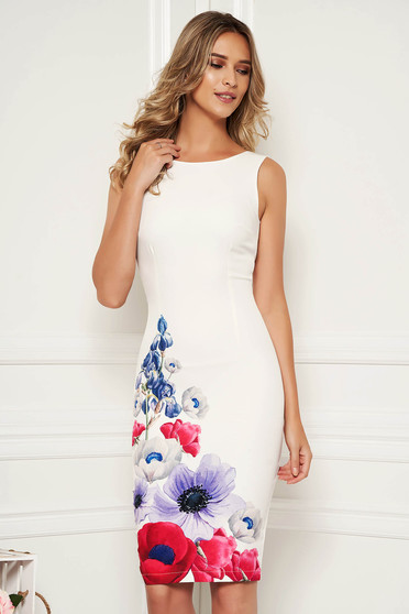 StarShinerS ivory dress elegant midi pencil with floral print neckline sleeveless