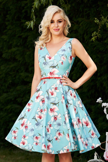 StarShinerS lightblue dress occasional elegant cloche with floral print with deep cleavage