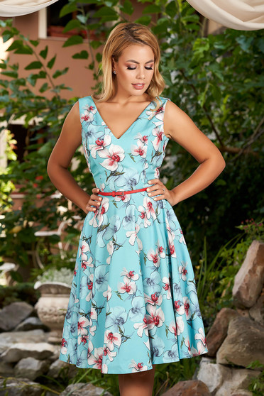 StarShinerS lightblue dress cloche with floral print with deep cleavage daily midi