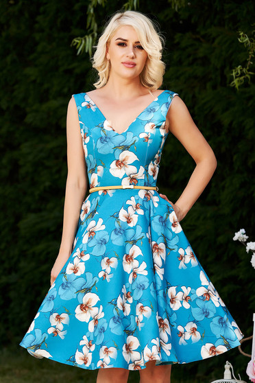 StarShinerS blue dress occasional elegant cloche with floral print with deep cleavage