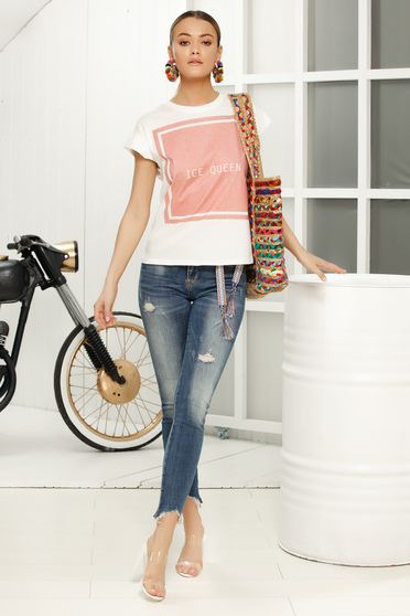 Pink casual flared t-shirt short sleeve thin fabric
