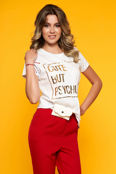 White t-shirt casual with easy cut slightly elastic cotton