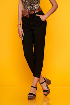 Black trousers casual straight medium waist with pockets accessorized with belt