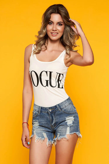 Body casual with text with rounded cleavage sleeveless