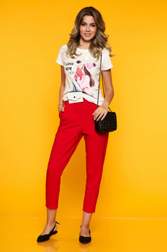 Red trousers casual straight with front pockets with elastic waist