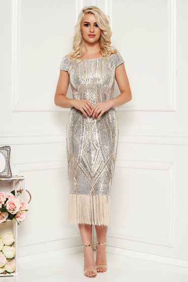 Cream dress elegant occasional pencil with sequins fringes with inside lining