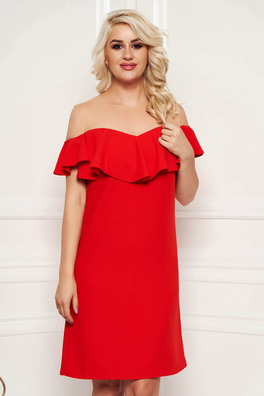 Red dress elegant straight midi with ruffles on the chest
