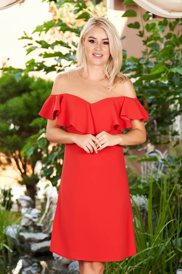 Red dress elegant straight midi with ruffles on the chest net shoulders without clothing