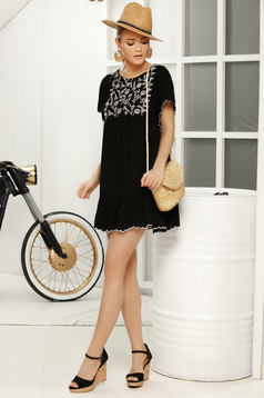 Black casual women`s blouse flared front embroidery