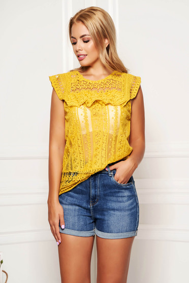 Mustard women`s blouse short sleeve casual short cut flared from laced fabric
