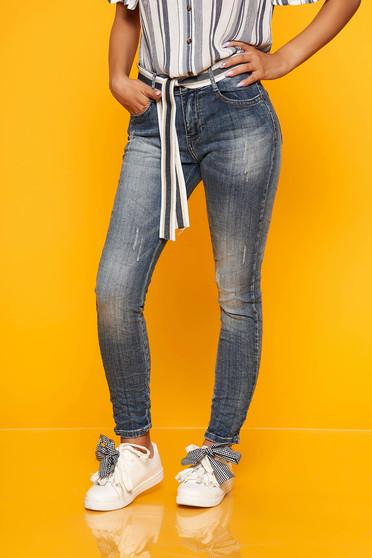 Blue casual jeans prewashed fabric denim