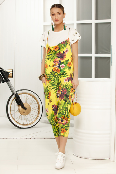 Yellow jumpsuit casual flared with floral print loose cut and rise with straps