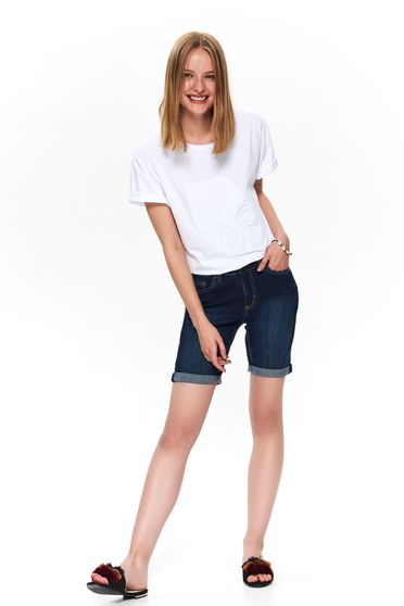 Blue short casual wwith medium waist denim knee-length