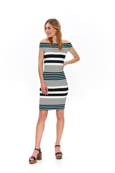 White dress casual pencil with stripes naked shoulders arched cut