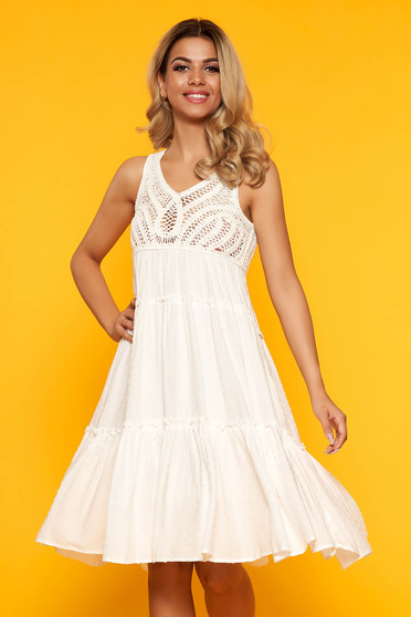 White dress casual cloche midi with embroidery details slightly transparent fabric